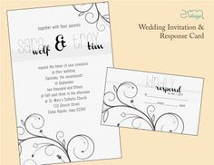 "Simple Stripe wedding invitation by EmDesign #weddinginvitations #emdesignia  Price includes: 25 of each 5x7"" Invitation, 3.5 x 5"" RSVP Postcard or RSVP Card, and white A7 Invitation Envelope."