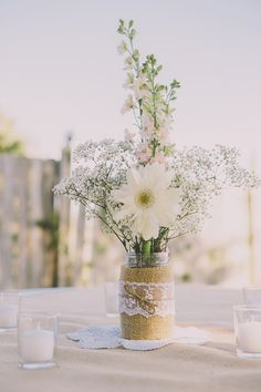 rustic boho wedding ideas- wildflowers and baby's breath burlap lace wedding centerpiece mountain wedding fall, mountain wedding decor, mountain themed Lace Wedding Centerpieces, Daisy Centerpieces, Burlap Wedding Decorations, White Centerpiece, Rustic Centerpieces, Table Decorations, Centerpiece Ideas, Decor Wedding, Babies Breath Centerpiece