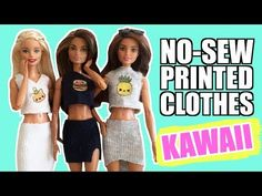 How to make clothes without sewing for Barbie. Kawaii Clothes for dolls. Barbie Dolls Diy, Barbie Clothes Patterns, Crochet Barbie Clothes, Doll Clothes Barbie, Diy Doll, Sewing Clothes, Barbie Stuff, Bateau Pirate, Barbie Accessories