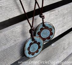 Crop Circle Ceramic Pendant Daisey Flower Spiral by CropCircleClay, $25.00