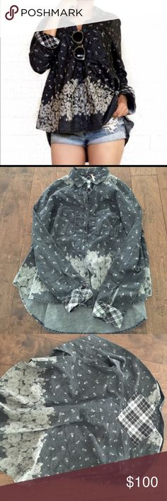 Free People Floral Chambray Buttondown NWOT Free People Floral Chambray Buttondown NWOT new never worn. Size small. Free People Tops Button Down Shirts
