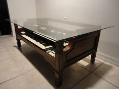 Coffee Table made from 1970 Vintage Hammond Organ Model T582 - this is completely amazing
