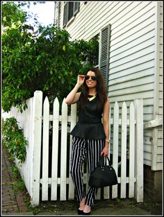 Leather #peplum , #harempants #manolos , bowler bag. #Zara #Forever21 #ASOS #blogger #lookbook #ootd http://thefabulouslifeofanaturaldisaster.com/2013/05/31/ootd-bold-black-white-and-gold/