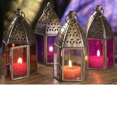 Authentic Moroccan style mini glass lantern tea light candle holder made from iron with two-tones/Multi coloured patterned glass panes on a fair trade basis. Can be hung or placed on a table inside or outside. Lantern Tea Light Holders, Lantern Set, Candle Holders, Deco Table, A Table, Chandeliers, Princesa Jasmine, Indian Theme, Indian Baby