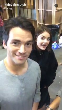 Ian and Lucy on set