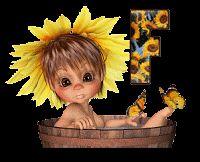 Alfabeto animado nena con girasoles. | Oh my Alfabetos!