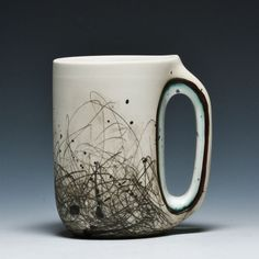 Nicely decorated mug. Interesting structure in the handle. Audrey Rosulek