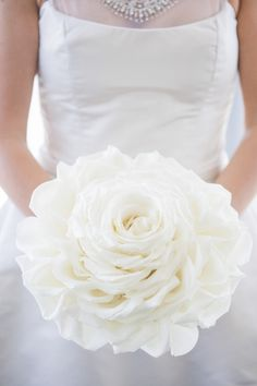 Beautifully composed bouquet by Xquisite Events Inc photo by JSPStudio White Roses Wedding, Rose Wedding Bouquet, Rose Bouquet, Bridal Bouquets, White Bouquets, Wedding Lace, Bridesmaid Flowers, Wedding Photo Gallery, Wedding Photos