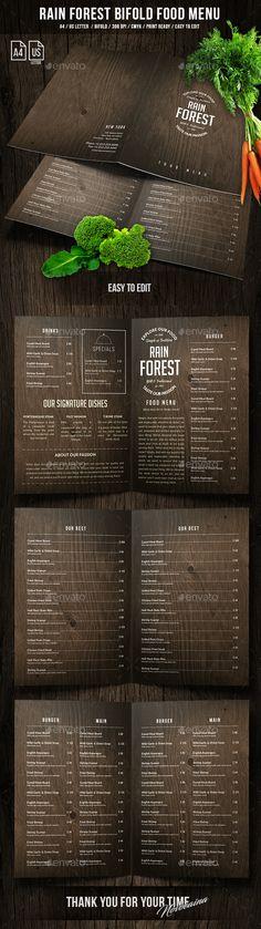 Rain Forest A4 & US Letter Bifold Menu