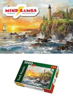 """Enjoy the ambiance of a wondrous sunset scene by piecing together this huge Sunset By The Rocky Coast 3000-Piece Jigsaw puzzle! The sounds of the ocean waves crashing against the rocks by the seashore, the birds chirping and flying overhead, and watching a sailboat setting course in search of brand new lands.. it all seems so calming and soothing!  Finished puzzle size: 46"""" x 33""""  The Sunset By The Rocky Coast 3000-Piece Jigsaw contains 3000 puzzle pieces and is recommended for ages 12 and…"""