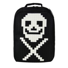 Black #DIY with white pixels - motive skull