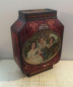 Victory V Vintage Tin Box Art Nouveau Red Vase Style Victorian Children Antique #VictoryV