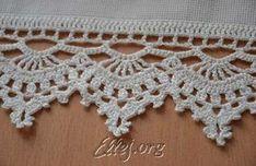 Tying the towel hook Crochet Boarders, Crochet Lace Edging, Cotton Crochet, Thread Crochet, Crochet Trim, Crochet Doilies, Crochet Stitches, Knit Crochet, Granny Square Häkelanleitung