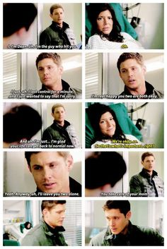 """Saddest moment ever...later Dean: """"If you ever mentions Lisa and Ben to me again I will break you nose."""" He loved her so much!"""