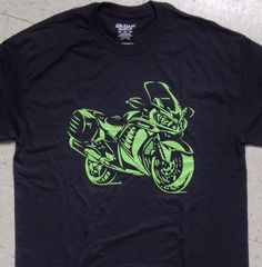 I printed these in the bright green that the Kawasaki company uses and I think it looks pretty cool on the black 50/50 blend Gildan shirts. I personally
