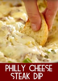 This Philly cheese steak dip is going to blow your friends and family away. When I make this dip and set it on the table my family makes a beeline for it. Appetizer Dips, Appetizer Recipes, Steak Appetizers, Yummy Appetizers, Dinner Recipes, Dip Recipes, Cooking Recipes, Yummy Recipes, Steak Recipes