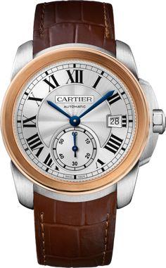 Calibre de Cartier watch 38 mm, steel, leather
