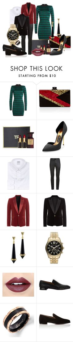 Untitled #143 by rashadesaintpatrique on Polyvore featuring Balmain, Tom Ford, Edie Parker, Michael Kors, House of Harlow 1960, Christian Louboutin, Armani Collezioni and Fiebiger