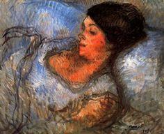 "Isidre Nonell Monturiol (1873 - 1911). ""Estudio, 1908"". Óleo sobre lienzo. 54 x 66cms. Museo de Arte Moderno. Barcelona. España."