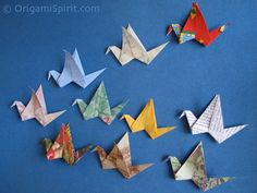 origami flapping birds made with recycled paper, video