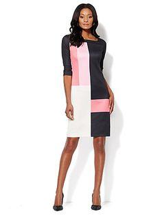 Colorblock Scuba Shift Dress $46