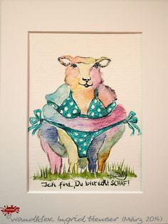 """No. 022 der wandklex-Unikatserie """"Ich war schon immer das Bunte Schaf der Familie"""" - nummerierte Einzelstücke! Ihr eigenes Schaf können Sie als Ihr Designerstück von wandklex® Ingrid Heuser, Ratzeburg, Germany bestellen:  im kleinen Klexshop bei DaWanda auf http://de.dawanda.com/shop/wandklex ©  Kunstatelier wandklex Ingrid Heuser, D-Ratzeburg Besuchen Sie mich auch auf facebook: https://www.facebook.com/wandklex"""