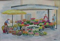 Flower Market Painting - Flower Market In Norway by Carol Risko