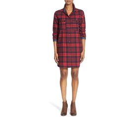 Love Fate Destiny Plaid Cotton Blend Shirtdress ($58) ❤ liked on Polyvore featuring dresses, red, long sleeve dresses, white long sleeve dress, plaid dress, white shirt dress and shirt-dress