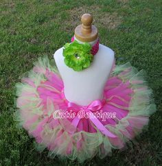 Hotpink Lime Petti Tutu  All Sizes 3 6 9 12 18 by CutiesBoutique, $38.99
