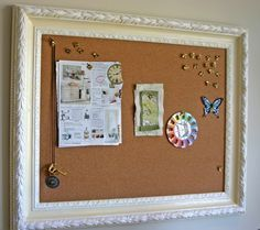 framed bulletin board recycle old frame get a sheet of cork board and a piece of cute fabric