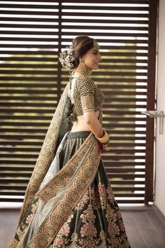 Love this mehendi green gold Sabyasachi wedding lehenga. Wedding Lehnga, Indian Wedding Gowns, Indian Bridal Outfits, Indian Dresses, Bridal Dresses, Bridesmaid Dresses, Indian Clothes, Indian Weddings, Wedding Bride