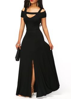 Dearlove Women's Sexy V neck Cold Shoulder Short Sleeve Maxi Dress Split Formal Evening Party Long Dress Prom Gowns Solid Red XL 16 18 Front Slit Dress, Maxi Dress With Sleeves, Short Sleeve Dresses, Cap Sleeves, Short Sleeves, Chiffon Dress, Ball Gown Dresses, Prom Gowns, Dress Prom