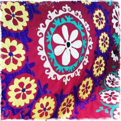 """""""Red and Yellow Frangipani"""" - Honorooroo Lifestyle Wool Thread, A Hook, Chain Stitch, Beautiful Hands, Folk Art, Kids Rugs, Embroidery, Boho, Lifestyle"""
