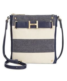 TOMMY HILFIGER Tommy Hilfiger H-Belted Rugby Stripe Crossbody . #tommyhilfiger #bags #crossbody #leather #lining #metallic #shoulder bags #cotton #