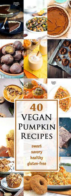 40 Sweet & Savory Vegan Pumpkin Recipes for your holiday meals! #vegan #glutenfree #healthy | www.vegetariangastronomy.com