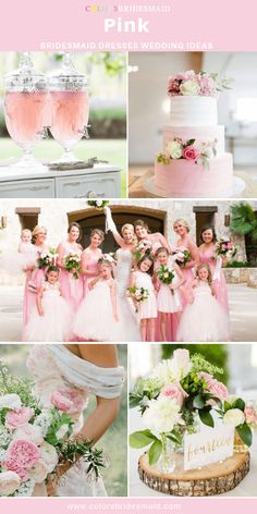 Pink bridesmaid dresses long great wedding ideas with white bridal gown and flower girl dresses wedding bouquets cakes and decorations in pink white and green colors. Pink Wedding Theme, Wedding Party Dresses, Wedding Colors, Wedding Bouquets, Wedding Themes, Gold Wedding, Wedding Reception, Wedding Stuff, Wedding Cakes