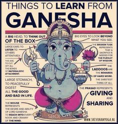 Mythology + Religion: Things To Learn From Ganesha Infographic Om Gam Ganapataye Namaha, Little Buddha, Hindu Deities, Lord Ganesha, Lord Shiva, Indian Gods, Gods And Goddesses, Yoga Meditation, Namaste Yoga