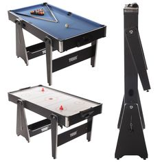 The Tekscore 5ft Multi Games Table features pool and air hockey in one rotating table! It can be vertically folded up for easy storage after use.