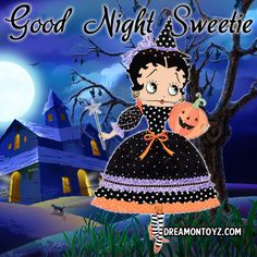 Good Night Sweetie -Betty Boop Graphics & Greetings http://bettybooppicturesarchive.blogspot.com/ & https://www.facebook.com/bettybooppictures  Beautiful Betty Boop witch holding a wand and Jack O' Lantern in front of a Haunted House #Halloween