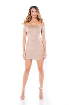 Size Off-Shoulder Suede Dress- Nude