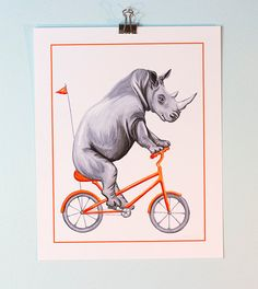 Rhino on bicycle print, cycling rhino print by AmelieLegault on Etsy. $12.00  Click here to buy now! https://www.etsy.com/ca/listing/209735596/rhino-on-bicycle-print-cycling-rhino?ref=shop_home_active_2 #rhino #cyclingrhino #cyclinganimal #amelielegault