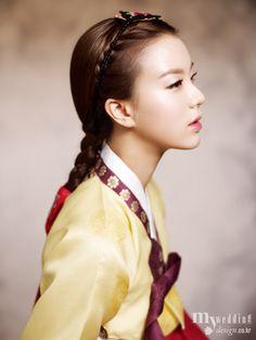Traditional korean hairdo(braided hair for single women) 'Daeng-Gi'