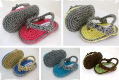 For all my friends with little ones! :)   Darling Handmade Crochet Baby Boy or Girl Flip-Flops - Perfect for summer!