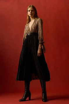 Brown Top with a V Neckline and Black Long Skirt by Philosophy di Lorenzo Serafini Pre-Fall 2016 Fashion Show