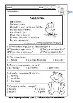 Baixe também: Texto Retrato de pato com atividades para alfabetização Texto Rei, Capitão com atividades para alfabetizaç...