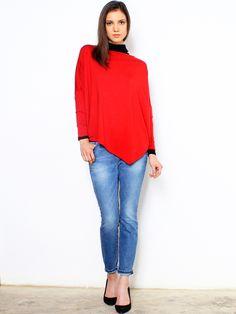 HELMUT Villous Oversize Red Sweatshirt