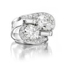 A Twin-stone Diamond Ring, by Suzanne Belperron, circa 1940. Via FD Gallery, www.fd-inspired.com