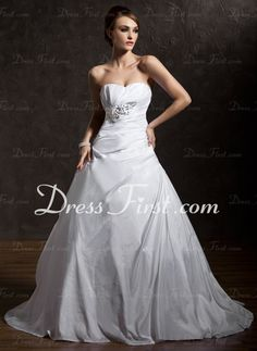 Ball-Gown Sweetheart Court Train Taffeta Wedding Dress With Ruffle Lace Beadwork Sequins (002012901)