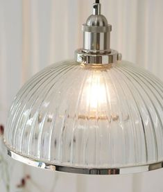 A beautiful pendant that combines both modern and traditional elements creating a glass pendant with class and style. Nickel Plating, Chrome Colour, Lamp Socket, Glass Pendants, Polished Nickel, Pendant Lighting, Lighting Uk, Glass Shades, Clear Glass