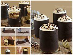 Cómo hacer Tiramisú de plátano, con vaso de chocolate comestible. Comenzamos a preparar este postre de tiramisú de plátano, Ingredientes: Queso Mascarpone..